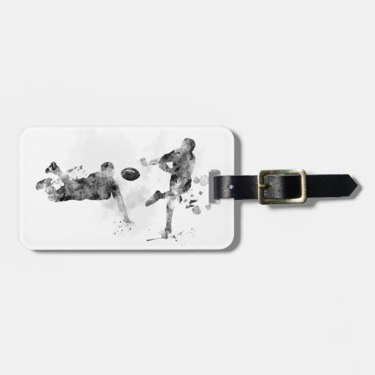2 RUGBY PLAYERS - LUGGAGE TAG