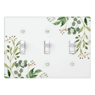 #2 Rustic Green and Golden Brown Leaves Triple Light Switch Cover