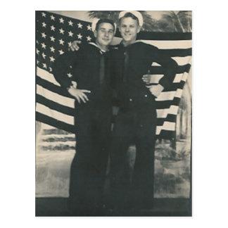 2 sailors front of flag postcard