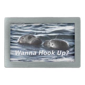 """2 Seals: """"Wanna Hook Up"""" (Making a Pass) Belt Buckles"""