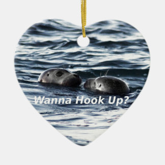 "2 Seals: ""Wanna Hook Up"" (Making a Pass) Ceramic Ornament"