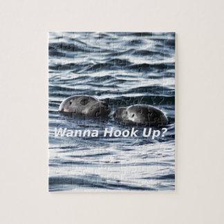 """2 Seals: """"Wanna Hook Up"""" (Making a Pass) Jigsaw Puzzle"""