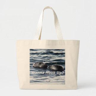"2 Seals: ""Wanna Hook Up"" (Making a Pass) Large Tote Bag"