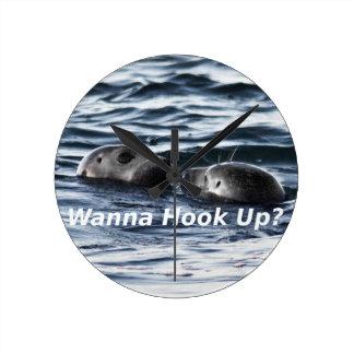 """2 Seals: """"Wanna Hook Up"""" (Making a Pass) Round Clock"""