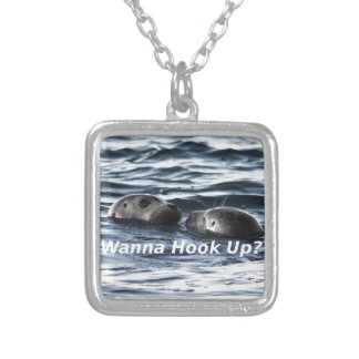 "2 Seals: ""Wanna Hook Up"" (Making a Pass) Silver Plated Necklace"