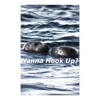 "2 Seals: ""Wanna Hook Up"" (Making a Pass) Stationery"