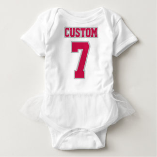 2 Side WHITE CRIMSON SILVER Tutu Football Babywear Baby Bodysuit