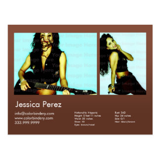 2-Sided Actor & Model 2 Shot Brown Headshot Comp Postcard