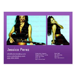 2-Sided Actor & Model 2 Shot Violet Headshot Comp Postcard
