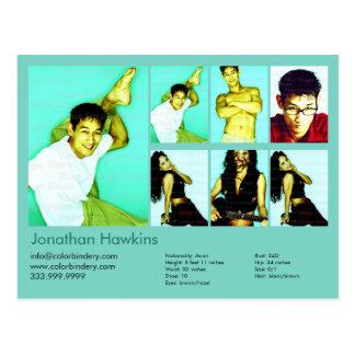 2-Sided Actor & Model Aqua Headshot Comp Postcard