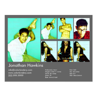 2-Sided Actor & Model Dark Gray Headshot Comp Postcard
