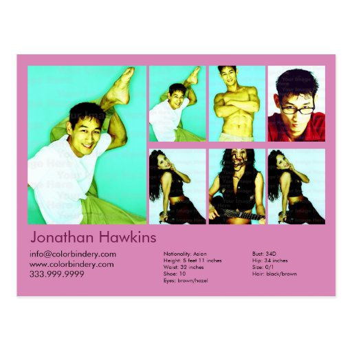 2-Sided Actor & Model Pink Headshot Comp Postcards
