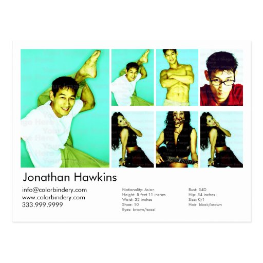 2-Sided Actor & Model White Headshot Comp Postcards