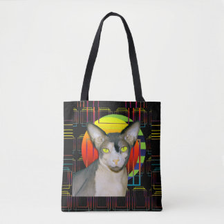 2 Sided Cat Bag Sphynx and Devon Rex on Black