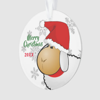 2-Sided Christmas Santa Sheep Cartoon Ornament