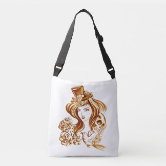 2 Sided Coffee Art Cross Body Bag w/ Pockets