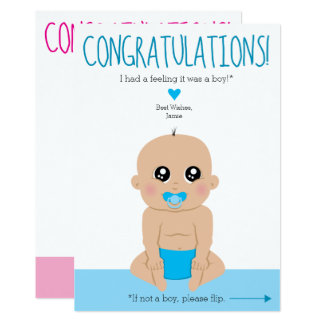 2-Sided Funny Gender Reveal Congratulations Card