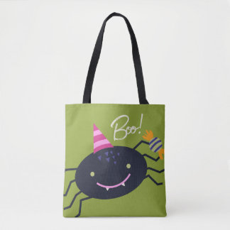2 Sided Halloween Cat and Spider Tote Bag
