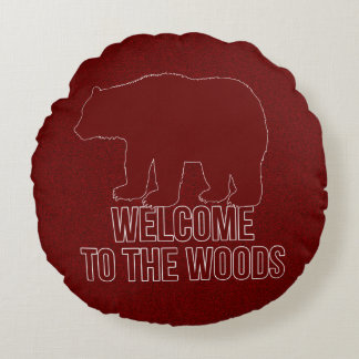 2-Sided Red Bear Welcome to the Woods Round Pillow