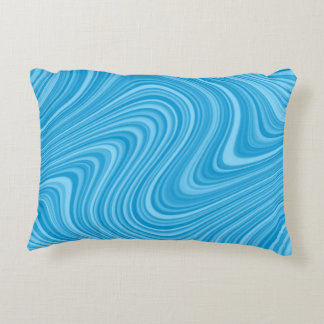 2 Sides 2 Colors Red/Blue White Curvy Line Pattern Decorative Pillow