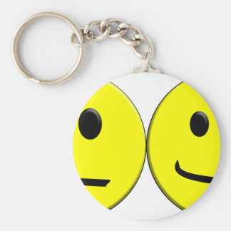 2 Sides of the Same Face Basic Round Button Keychain