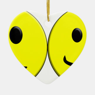 2 Sides of the Same Face Ceramic Heart Ornament
