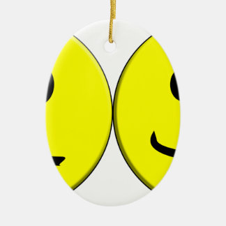 2 Sides of the Same Face Ceramic Oval Ornament