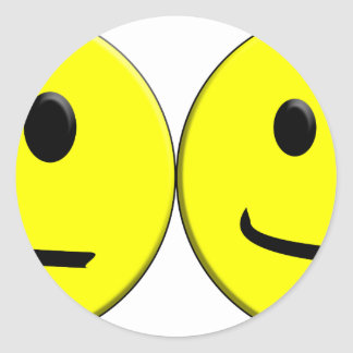 2 Sides of the Same Face Classic Round Sticker