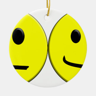 2 Sides of the Same Face Round Ceramic Ornament