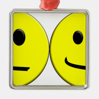 2 Sides of the Same Face Silver-Colored Square Ornament