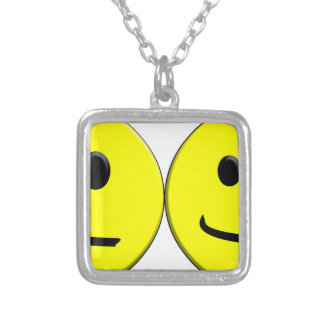 2 Sides of the Same Face Silver Plated Necklace