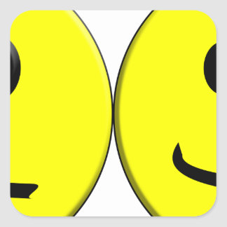 2 Sides of the Same Face Square Sticker