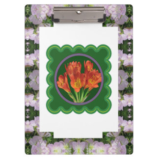 2 sides printed ACRYLIC CLIP BOARD Flowers Florals Clipboards