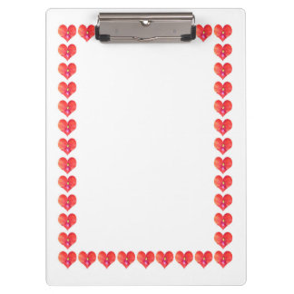 2 sides printed ACRYLIC CLIP BOARD Hearts Garland Clipboard