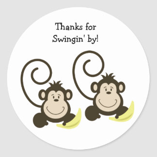 2 Silly Monkeys Birthday or Baby Shower Favor Classic Round Sticker