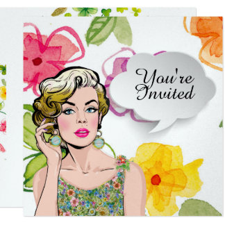 #2 Sophisticated Pop Art Lady Floral Invitation