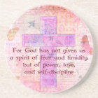 2 Timothy 1:7  Biblical quote scripture Coaster
