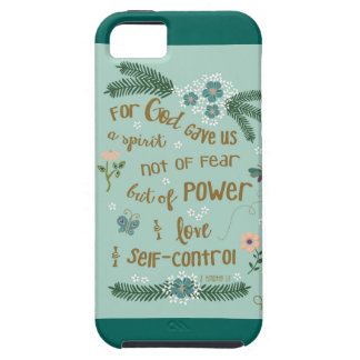 2 Timothy 1:7 Scripture art gold hand lettered iPhone 5 Case