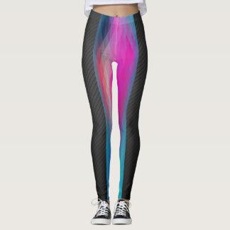 2-tone Geometric Design Leggings Black Multicolor