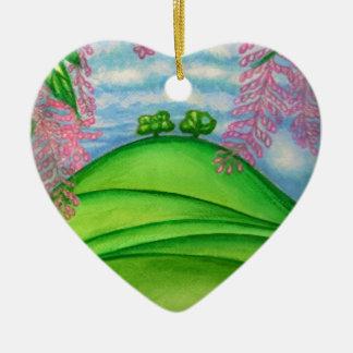 2 Trees & the Macadamia Flowers Painting Ceramic Ornament