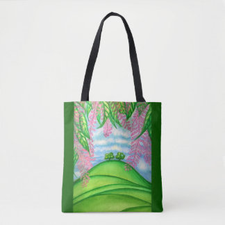 2 Trees & the Macadamia Flowers Painting Tote Bag