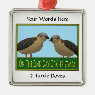 2 Turtle Doves Metal Ornament