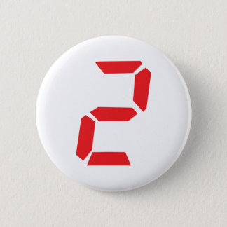 2 two red alarm clock digital 2 inch round button