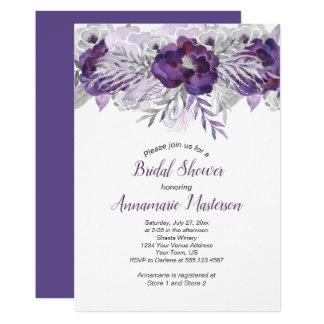 #2 Ultra Violet Lavender Gray Floral Bridal Shower Card