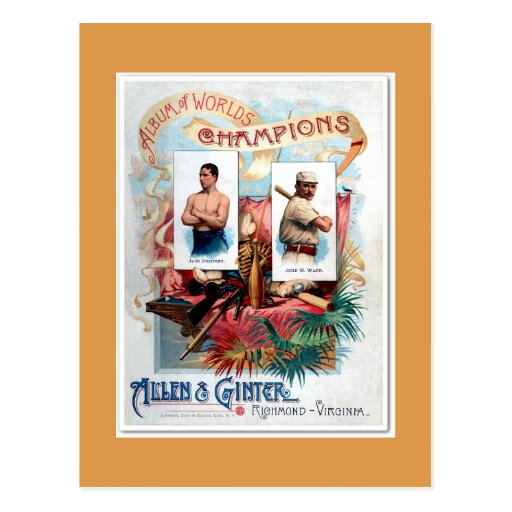 2 vintage American sports legends boxing-baseball Postcard