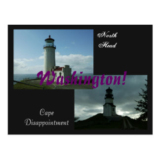 2 Washington Lighthouses! Postcard