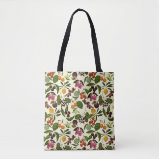 2-way Handpainted Exotic Tropical Fruit Pattern Tote Bag