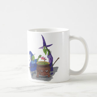 2 Witches brewing up potion in Cauldron Halloween Coffee Mug