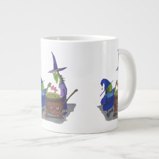 2 Witches brewing up potion in Cauldron Halloween Giant Coffee Mug