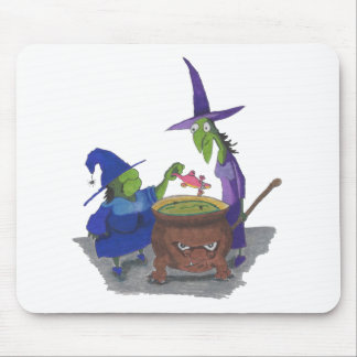 2 Witches brewing up potion in Cauldron Halloween Mouse Pad